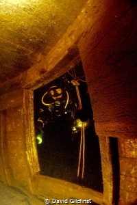 Diver peers into the stern of the steamer Waome, sunk in ... by David Gilchrist