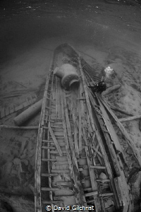 Diver ascends from wreck of the 'Alice G', a steam tug in... by David Gilchrist