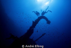 Wreck Aida at Brother Island, nice view from down to upside by André Elbing
