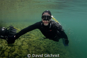 Free diver scootering at the Welland Scuba Park by David Gilchrist