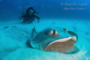 Jero with Ray, Cabo Pulmo Mexico by Alejandro Topete