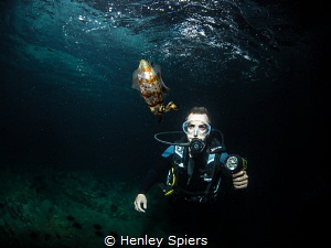 My dive buddy mesmerised by a squid on our night dive. by Henley Spiers