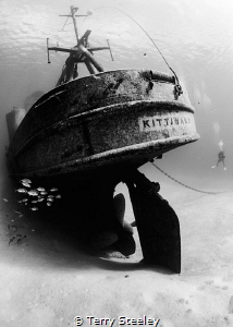 Diver looks in awe of the spectacular USS Kittiwake. — S... by Terry Steeley