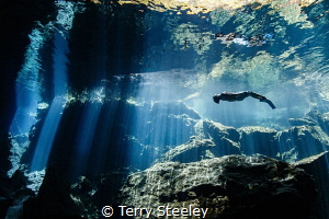 Freediver explores the magical cavern of the Yucatán Peni... by Terry Steeley