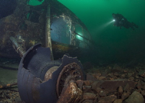 Off camera light inside of the wreck.