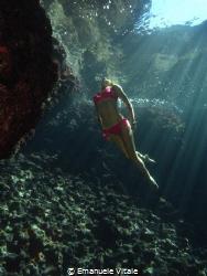 Underwater model in mediterranean sea by Emanuele Vitale