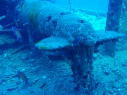 Thistlegorm April 2006, the paravane on the starboard deck by Dino Imbimbo
