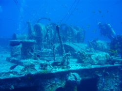 SS Thistlegorm, The winch on the Bow with mooring line ti... by Dino Imbimbo