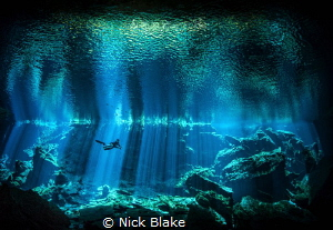 'The Light Shines On' Diver in Kukulkan Cenote, Yucatan ... by Nick Blake