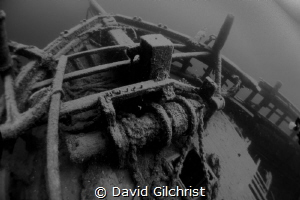 View of bow of the Barque 'Arabia', Tobermory, Ontario by David Gilchrist