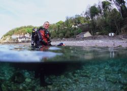 A happy Mr Haslam after diving Cuttlefish Cove. 16mm. by Mark Thomas
