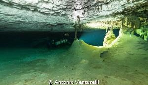 underwater cave of Xunaan-Ha, located in Chemuyil, Quinta... by Antonio Venturelli