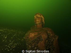 The virgin of the deeps. Statue in the lake Plateliai. by Sigitas Sirvydas