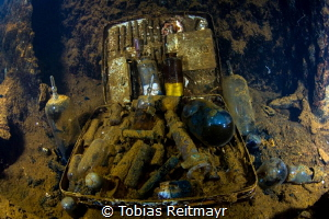 Medical kit inside the Heian Maru, Truk Lagoon by Tobias Reitmayr