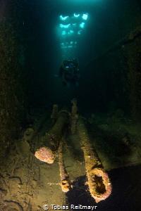 Periscopes on submarine tender Heian Maru, Chuuk by Tobias Reitmayr