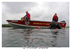Search and Rescue dog training with diver at Long Sault. ... by Michael Grebler