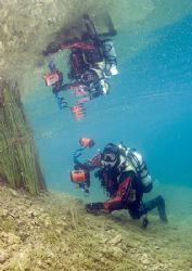 Diver reflection. Capernwray. D200,16mm. by Mark Thomas