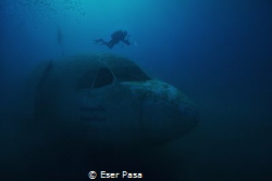 airbus a300 wreck and diver by Eser Paşa