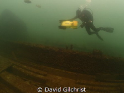 Diver exploring the wreck of the wooden Steamer 'Raleigh'... by David Gilchrist