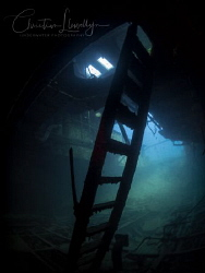 Inside the engine room of the Rozi Wreck Malta by Christian Llewellyn