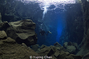 Diving in Silfra/Iceland by Yuping Chen
