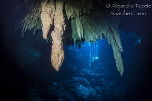 Estalactites in the Pit, Tulum México by Alejandro Topete