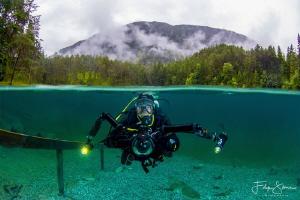 Diver at the Samaranger lake, Austria. by Filip Staes