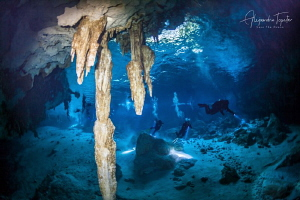 Divers in the Cavern, Dos Ojos Playa del Carmen México by Alejandro Topete