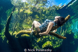 Kicking back in Cenote Jardin Del Eden by Nick Polanszky