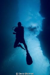 Diver swims through passage at Spooky Channel dive site i... by David Gilchrist