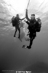 Divers on a deco stop with a moderate current.Jean-Yves B... by Jean-Yves Bignoux