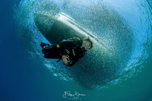 Under the boat, Dahab, Egypt. by Filip Staes
