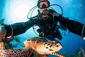 Selfie with a Turtle, Half Moon Caye, Belize by Alejandro Topete