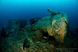 Sherman tanks from the WW2 wreck SS Empire Heritage in Ma... by Rene B. Andersen