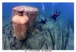 """Divers at the boiler on the wreck of the """"Wetmore""""near To... by Michael Grebler"""