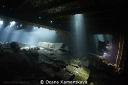 MV Marcus (Tile wreck). Inside the cargo holds. by Oxana Kamenskaya