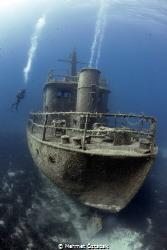Pinar 1 wreck and diver -  Bodrum / Turkey by Mehmet Öztabak