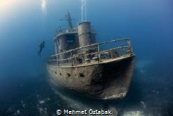 Pinar 1 wreck  and diver( horizontal ) - Bodrum / Turkey by Mehmet Öztabak