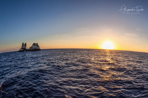 Roca Partida and the sunset, Revillagigedo Islands México by Alejandro Topete