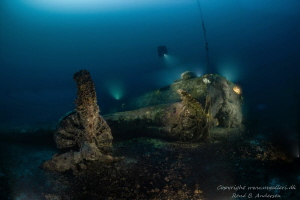 B-17 Flying Fortress laying on 75meter depth near the isl... by Rene B. Andersen