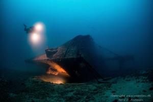 Brioni wreck laying on 60 meter depth near the island Vis by Rene B. Andersen