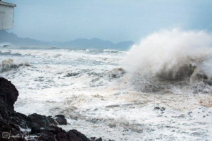 No Diving Today/Results of Typhoon Lidia at San Carlos, S... by Laurie Slawson