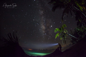 Milky way and the sea, Isla Lobos México by Alejandro Topete