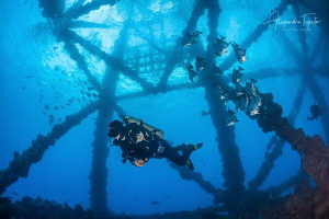 Oil Platform with Diver, Plataforma Tiburon, México by Alejandro Topete