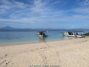 Getting the boats ready for the morning dive, Bangka Isla... by Pauline Walsh Jacobson