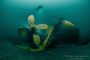 SS Empire Heritage WW2 wreck laying on 65meter depth. by Rene B. Andersen