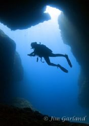Cave Opening, Caught in a natural pose. EOS5D + 15mm Fish... by Jim Garland