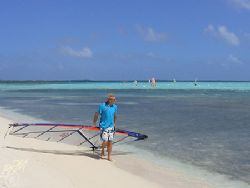 Lac Bay Bonaire a popular spot for the wind surfers. Niko... by Brian Mayes