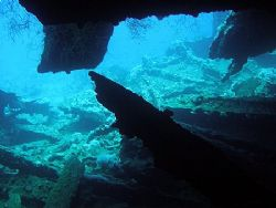 View from inside the SS Dunraven looking out to the wreck... by Carl Wrightson