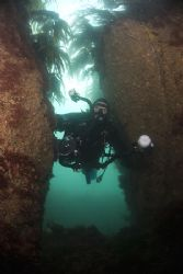 Mark in a gully. Porth Ysgaden.